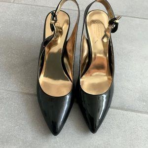 Coach Patent Black Leather Slingback Heels